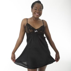 Short Satinised Chemise by Lila Rose in black front
